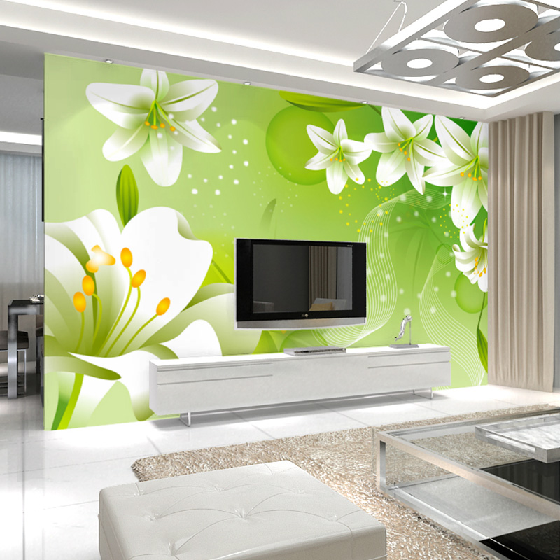 цены  Custom 3D Mural Wallpaper Green Lily Large Wall Painting Non-woven Living Room Sofa Bedroom TV Background Photo Wallpaper Flower