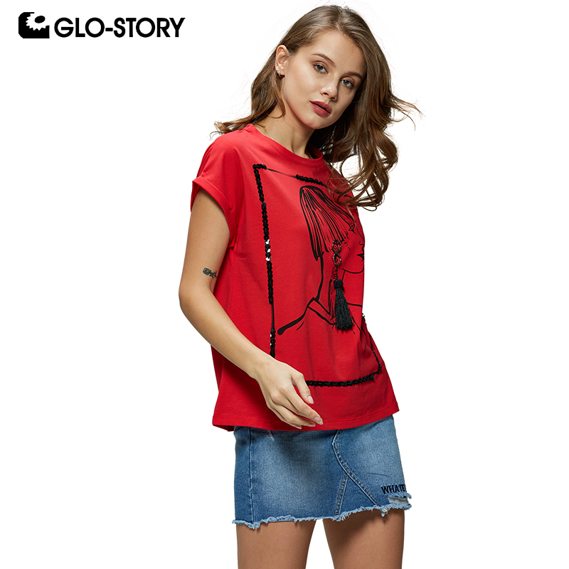 GLO-STORY European Style Women Casual Character Beading Tassel Short Sleeve Red T-Shirts Tops Female Women Clothing WPO-8172