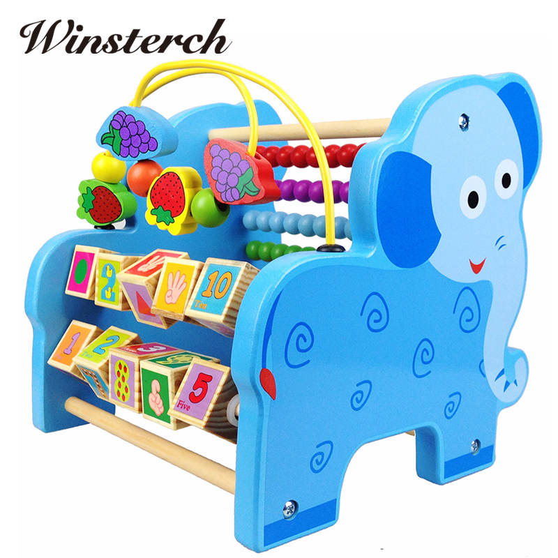 2017 New Blocks Wooden Jenga Game Toys Baby Learning Early Education Multi-function Creature Round Bead Maze Animal Toys ZS033 new fx3u 64ccl special function blocks