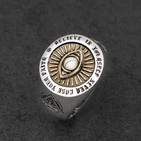 Devil Eyes hexagon Masonic Ring For Men sterling silver Freemason Totem Jewelry