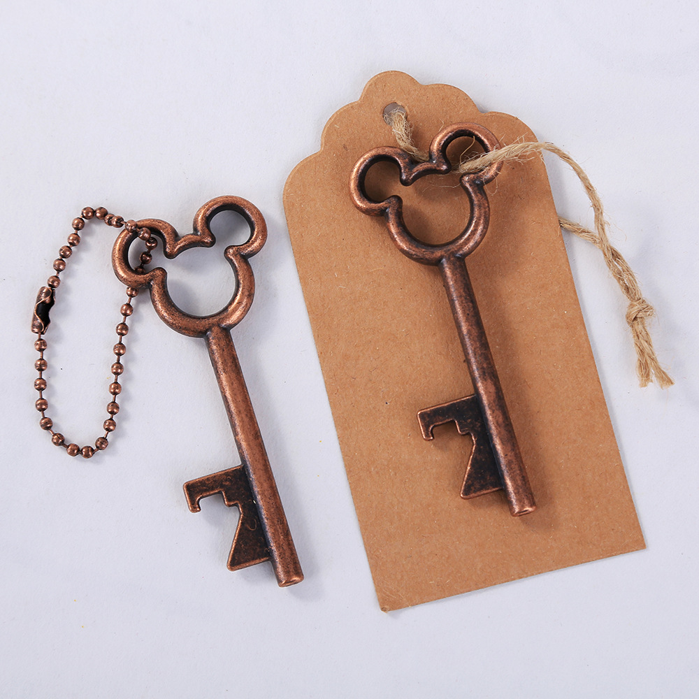 Free Shipping 200 pcs New Design Creative Wedding Favors Party Gifts Silver Mickey Mouse Skeleton Key