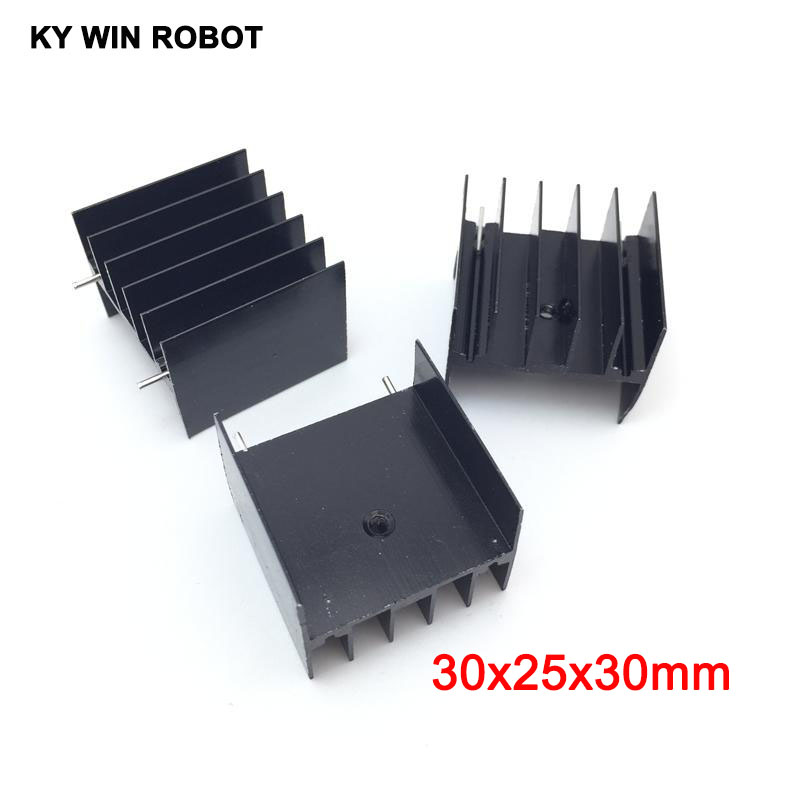 5pcs Black Aluminium TO-220 30x25x30mm Heatsink TO 220 Heat Sink Transistor Radiator TO220 Cooler Cooling 30*25*30MM With 2pin