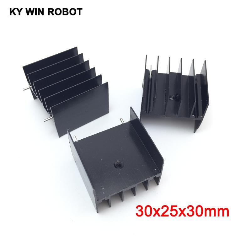 5pcs Black Aluminium TO-220 30x25x30mm Heatsink TO 220 Heat Sink Transistor Radiator TO220 Cooler Cooling 30*25*30MM With 2pin