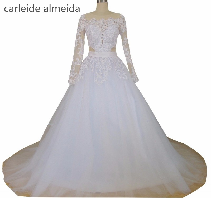 NºНастоящее Vestido De Noiva одежда с длинным рукавом ...