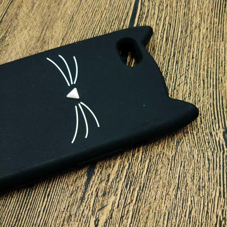 Gomma morbida Coque Caso Della Copertura Posteriore Per il iphone 5 6 3D Sveglio Del Fumetto Nero del Gatto della Barba di Orecchio Cassa Del Telefono Per iPhone 5 5S 6S 7-Silicio