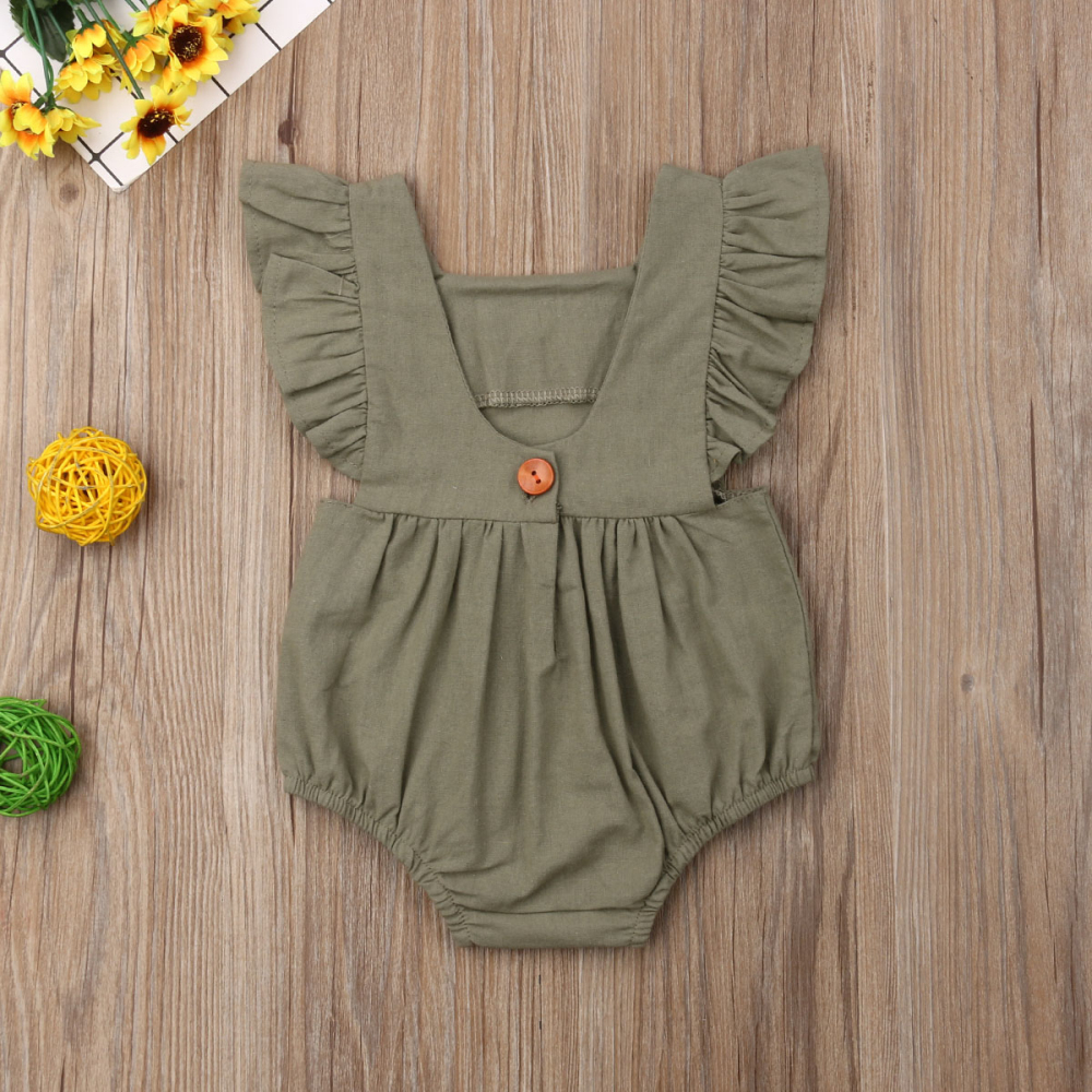 HTB1nVM.QNnaK1RjSZFtq6zC2VXa3 Kids Baby Girl Solid  Summer Clothes Lace Romper Backless Button Jumpsuit Outfits Baby Clothing