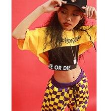 Танцевальный костюм для джаза для девушек в стиле «хип-хоп» для сцены, одежда на детей, топы и Худи и штаны уличные Танцы Одежда для представлений DQS1548