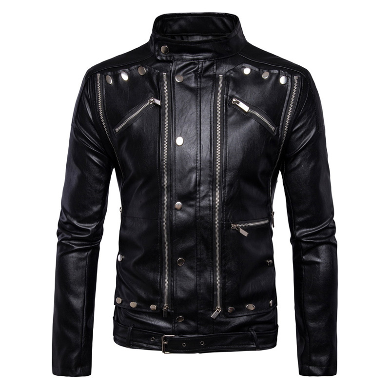 New Retro Vintage Motorcycle Jackets PU Leather Jackets Riding Multi Zippers Rivets Punk Biker Leather Stand Collar Size M-5XL цена 2017