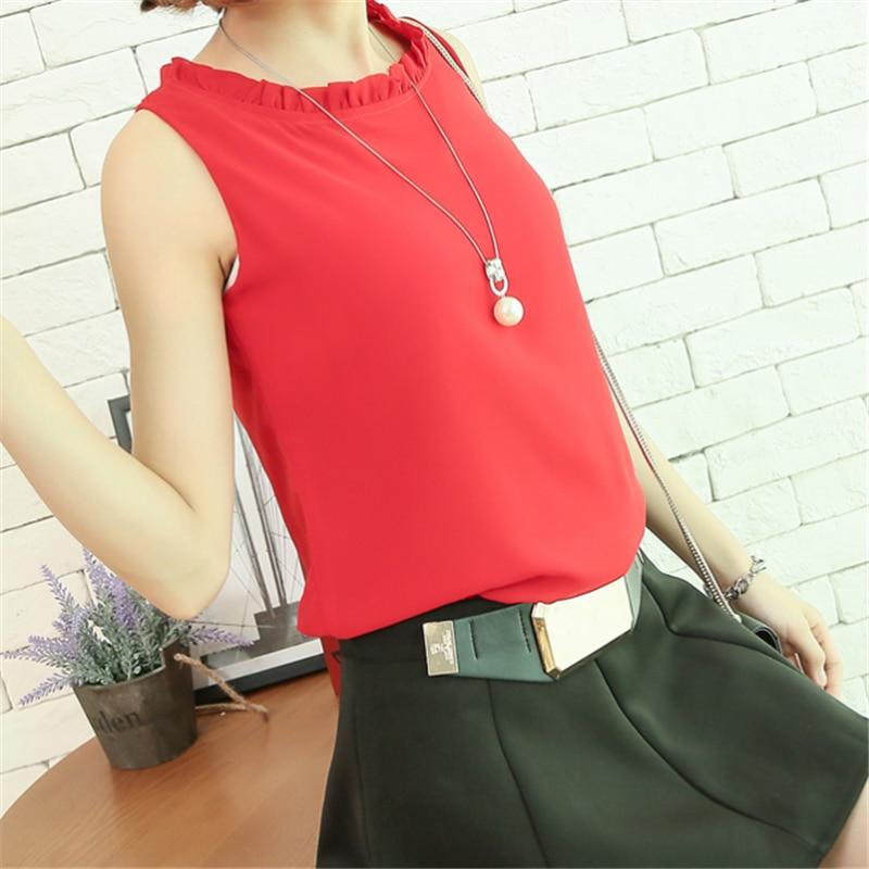 Tank Top Frauen Chiffon Hemd Tops Plus Größe Sommer Ärmelloses Shirt Tops Mode Frau Halter Top Streetwear OL Shirt Weibliche 2XL