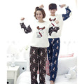 Christmas Pajamas Men New Winter Coral Fleece Couple Pajama Sets Adult Elk Animal Sleepwear Flannel Suit For Adult Pajama Pants