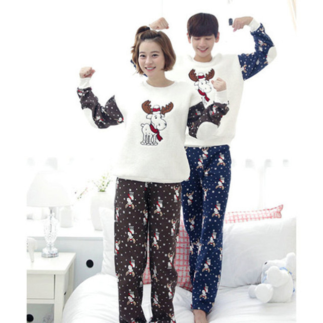 christmas pajamas men new winter coral fleece couple pajama sets adult elk animal sleepwear flannel suit