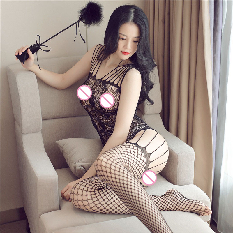 Women Bodystocking Strap Sexy Lingerie Siamese Jacquard Mesh Net Open Crotch Stockings Fishnet Bodysuit Body Dentelle Femme in Teddies Bodysuits from Novelty Special Use