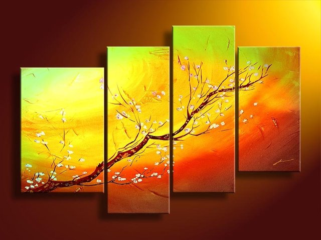 Hand Painted Acrylic Paint Warm Color Flower Branches Decoration Abstract Landscape Oil Painting On Canvas