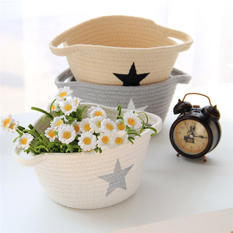 Storage Basket Round Boat Cotton Handmade Woven Sundries Snacks Food Laundry Basket Office Desktop Neatening Box