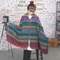 Botón populares nacional mantón de la bufanda mujer gruesa Cashmere Artificial bufanda del mantón del abrigo cálido envío gratis