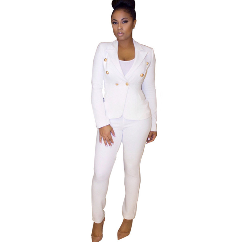 2016 Autumn Fashion Black White Formal Pant Suits Set For