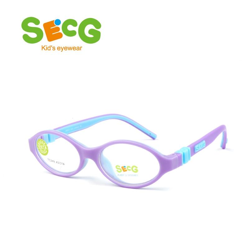 SECG Round Cute Children Optical Glasses Frames Silicone Solid Unisex Kids Glasses Eyewear Children Prescription Spectacles