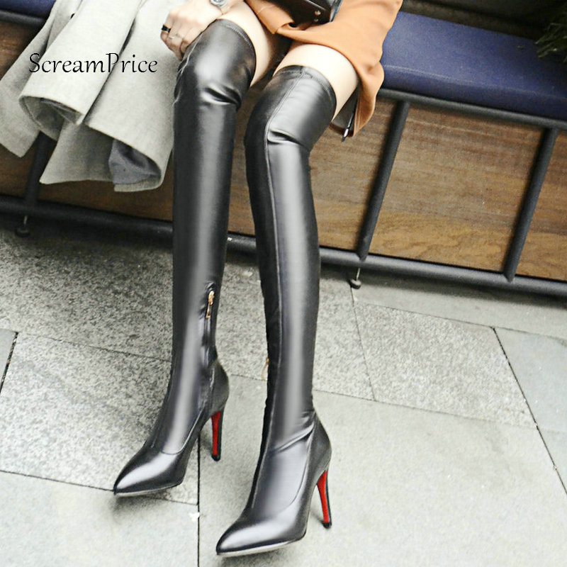 The New Thin High Heel Zipper Woman Genuine Leather Over The Knee Boots Fashion Pointed Toe Dress Thigh Boots Black