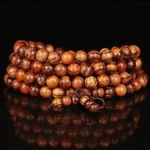 Vintage 6mm 8mm 108 contas de teca natural sândalo budista madeira pulseiras meditação oração grânulo mala pulseira