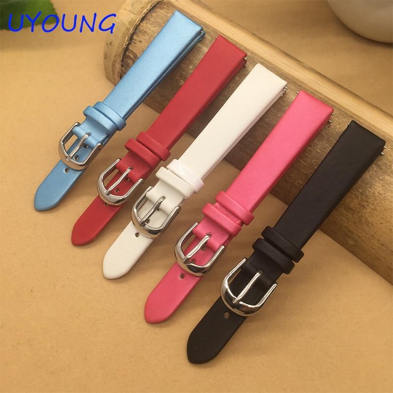 Seda hilada de calidad + correa de reloj de cuero genuino 14mm correa de reloj de repuesto para mujer para tiempo de guijarros redondo para mujer