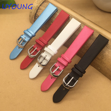Quality Spun silk + Genuine Leather Watchband 14mm Ladies Replacement Watch Strap For Pebble Time Round For Womens