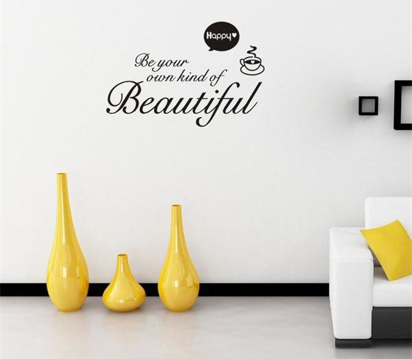 Be Your Own Kind Of Beautiful Quote Wall Stickers Cute Coffee Cup Vinyl  Wall Stickers Beautiful Wall Stickers Home Decor In Wall Stickers From Home  U0026 Garden ...