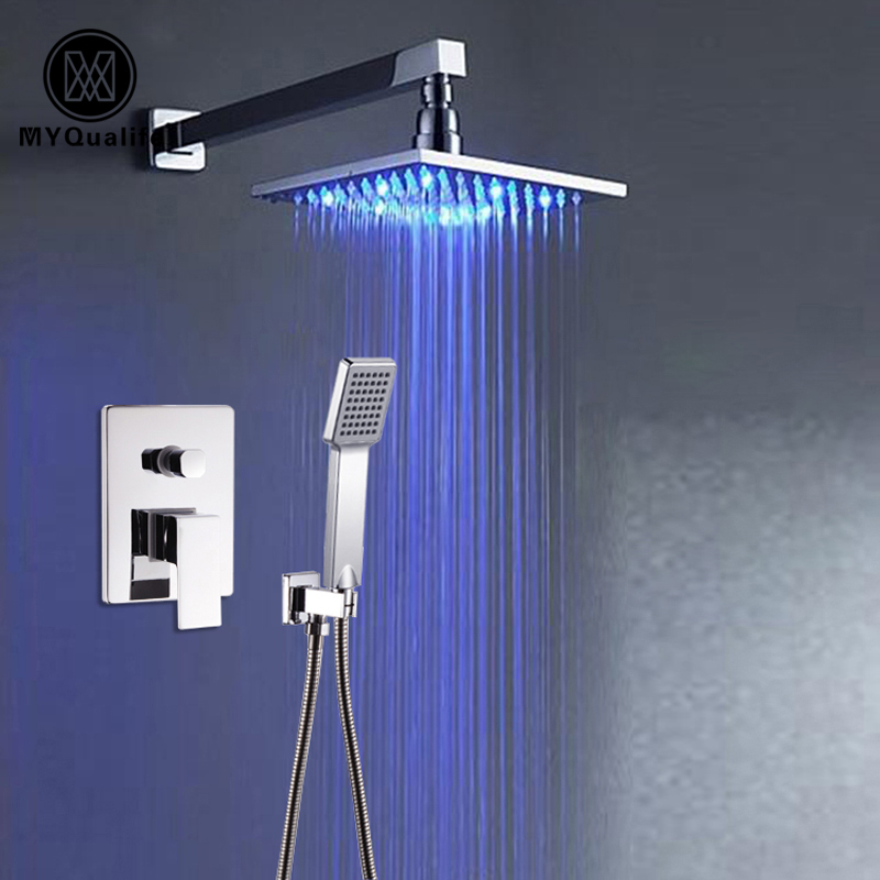 Luxury LED Light Rain 8 Square Shower Head Bathroom Shower Mixer Faucet Set with Handheld Shower Chrome Finish 8 bathroom copper colorful square top shower head silver