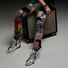 2016 певица dacner бар мужские брюки мода брюки джинсы тонкий отверстие корейский ноги патч цветочные брюки японский метросексуал