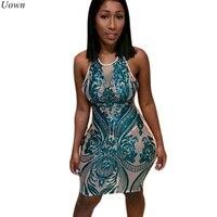 Doyerl Frauen Halter Sheer Blau Pailletten Kleid Sexy Mesh Ärmelloses Nachtclub Mini Kleider Durchsichtig Damen Mantel Glitter Kleid