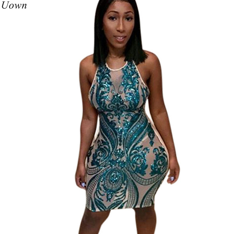 Doyerl Women Halter Sheer Blue Sequin Dress Sexy Mesh Sleeveless Night Club  Mini Dresses See Through Ladies Sheath Glitter Dress f8c20515d