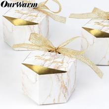 OurWarm Wedding Marbling Paper Candy Gifts Box Dessert Bags Favors for Guests Baptism Souvenir Party Decoration