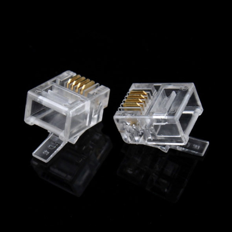 Modular-Plug Rj11-Rj-11 Telephone-Phone-Connector Durable New 6P4C -8805 4-Pin 100x Hot