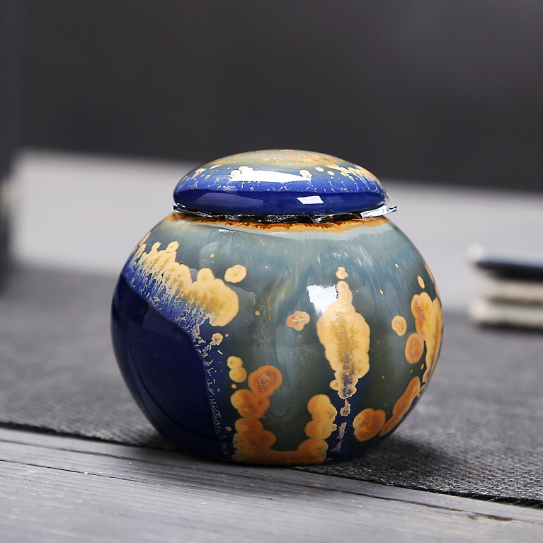 Chinese Ceramic Tea Caddies Canister Kung Fu Tea Set Accessories Tea Jar Cans Box For Home Or Office Teaware C
