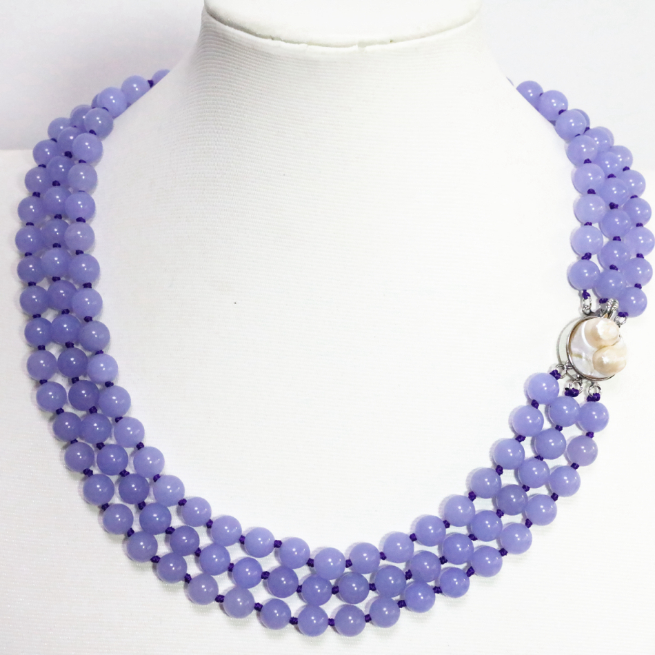 Fashion 3 rows romantic 8mm purple violet jade jasper round necklace narural white mother shell clasp jewelry 17-19inch B1506