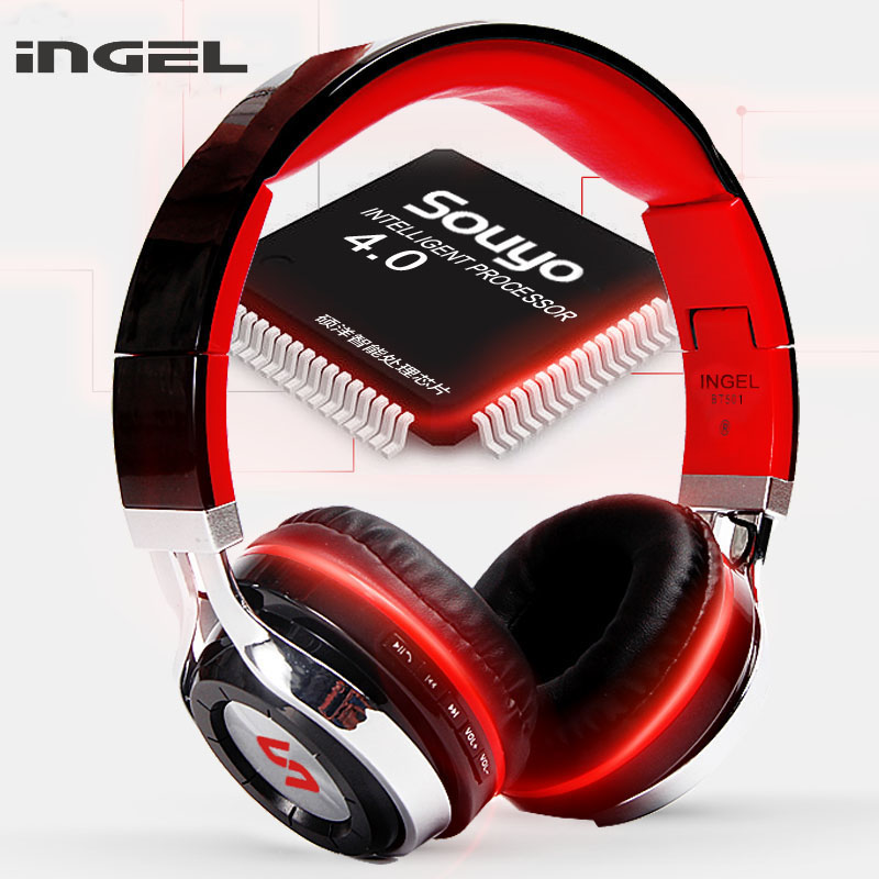New INGEL BT501 Wireless Bluetooth Hands-free Headphones With Mic Foldable Stereo Music Earbuds Headset for Android IOS Phones 100% original bluetooth headset wireless headphones with mic for doogee x5 max pro earbuds