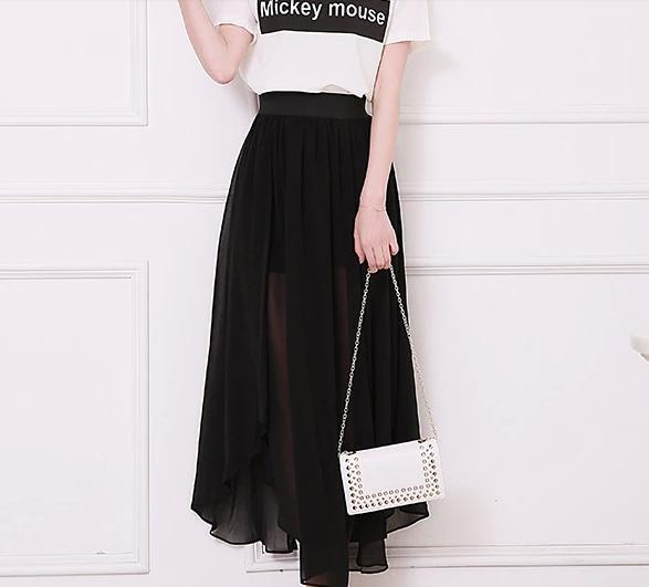 3432b87a46d Women Summer Style Plus Size XXS-8XL Sexy High Slit Sheer Black White Green Grey  Chiffon Long Maxi Skirt Saias Longa Femininas