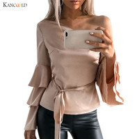 Women Blusas T Shirts 2018 Spring Autumn Elegant Ladies Off Shoulder Flounce Ruffles Long Sleeve Solid
