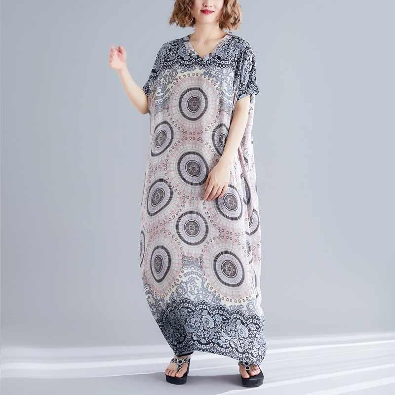 Хлопок размера плюс винтажное цветочное женское повседневное свободное Макси длинное летнее пляжное элегантное платье одежда 2019 женские платья Сарафан
