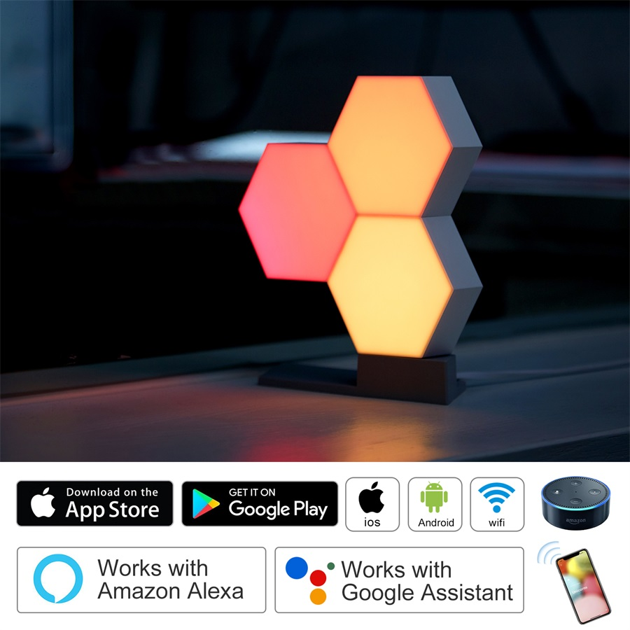 Life Smart Quantum Night Light Geometry Assembly Night Lamp Ambient Lamp Smart App Remote Voice Control DIY Illuminations
