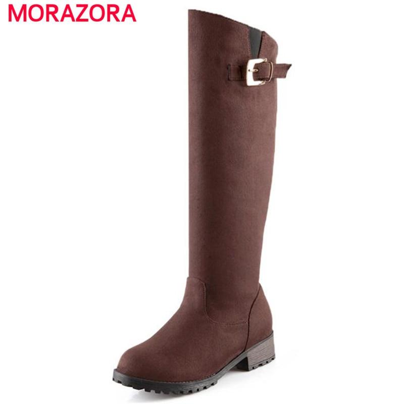 MORAZORA Long boots med heels knee high boots buckle round toe PU nubuck leather solid winter women boots big size 34-43 стоимость