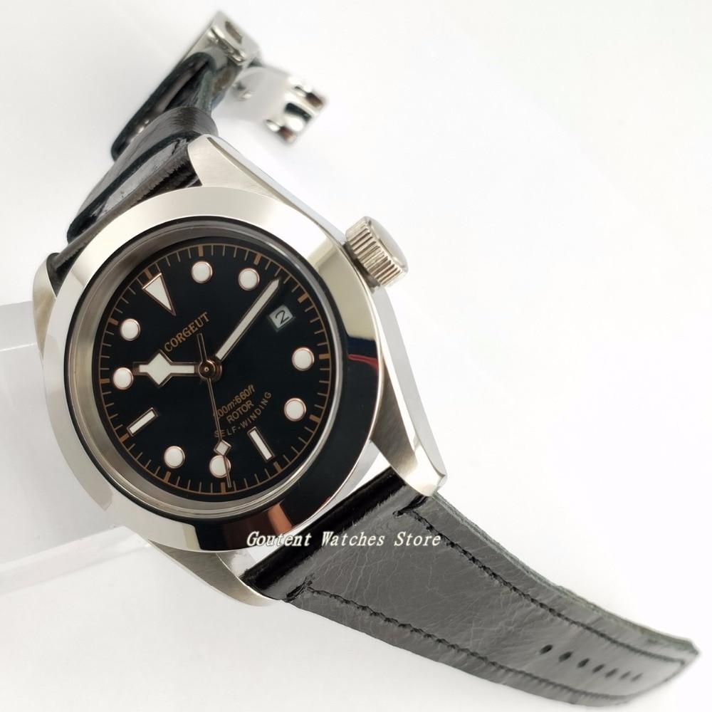 41mm Corgeut Polished Black Dial Sapphire Glass Automatic Movement Men s Watch