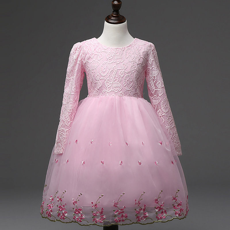 4-12T Pink White Embroidery Flower Girl Princess Dresses for Party Wedding Evening Long Sleeve Bow Lace Ball Gown Kids Clothing1