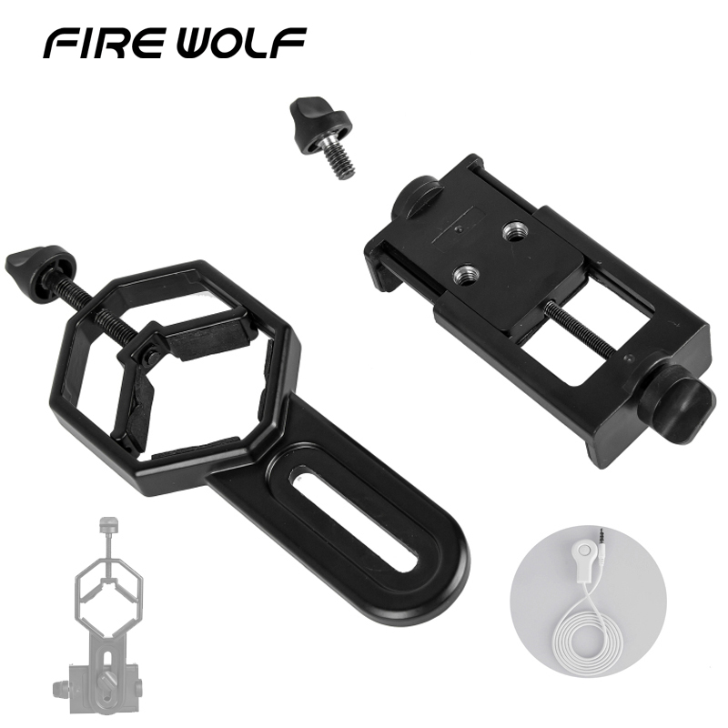 FIRE WOLF Universal Cell Phone Adapter Mount- Compatible With Binocular Monocular Spotting Scope Telescope And Microscope Adapte universal cell phone holder mount bracket adapter clip for camera tripod telescope adapter model c