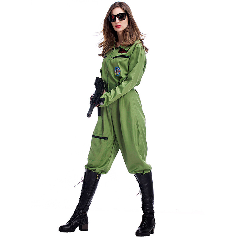 cec9f141fa00 Army Green Paratrooper Jumpsuit Women s Flight Uniforms Female Halloween  Green Air Force Costume Army Soldier Military Uniform-in Movie   TV costumes  from ...