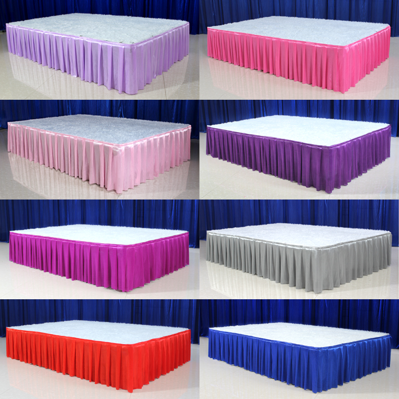 30cm high x 600 cm long ice silk wedding stage table skirt for table clothes decoration wedding table skirting for event party30cm high x 600 cm long ice silk wedding stage table skirt for table clothes decoration wedding table skirting for event party