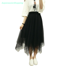 Fashion Women Tulle Tutu Skirt Ball Gown Summer 3 Layers Mesh Pleated Skirts Womens Party Asymmetrical Hem Midi Skirt BQ3002