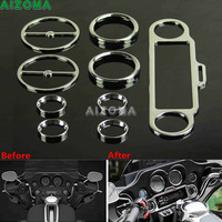 Chrome Stereo Speedometer Speaker Beazels Accent Trim Ring Cover Kit For Harley Ultra Classic Touring Electra Glide Trike 86 Up