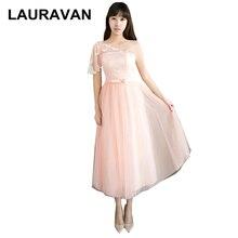 robe de soiree elegant lace up back one shoulder tulle bridesmaid dress