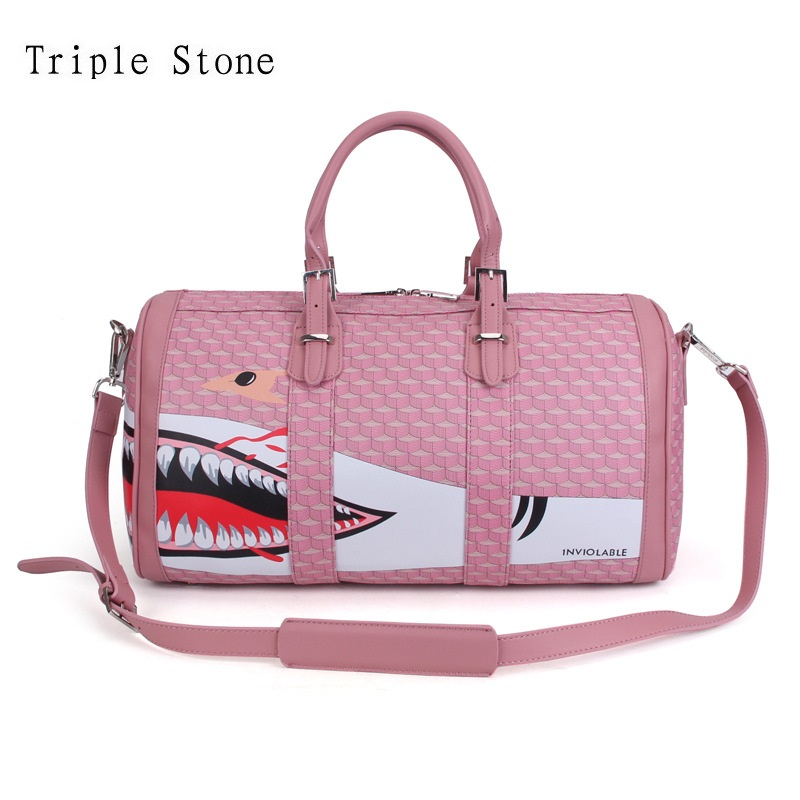 Leather Women Large Shoulder Tote Bags Brand Design Pink Shark Printing Travel Weekend Bag Fashion Carry on Luggage Duffel Bags canvas leather men travel bag carry on luggage bags men hand casual travel duffel bags tote large weekend bag overnight