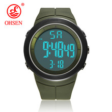 New 2019 OHSEN Brand Fashion LCD Digital Mens Wristwatch 50M Waterproof Sports Green Military Hand male Clocks relogio masculino(China)